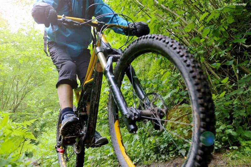 WD-40 para lubrificar os amortecedores da bicicleta